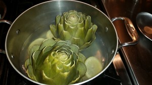 artichokes cooking