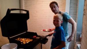 Max & Dad grilling