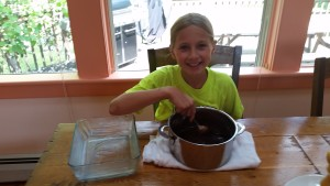 Making the brownie batter.