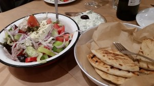 Greek salad, pita and tzatziki from Massina