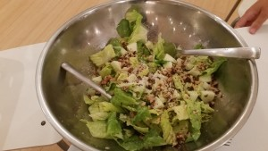 Caesar salad with walnuts, fresh parmesan and granny smith croutons