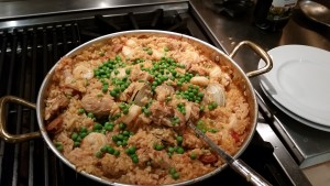Paella! with chicken, shrimp, chipotle sausage, clams and vegetables