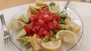 Avocado/Tomato Salad with olive oil & lemon