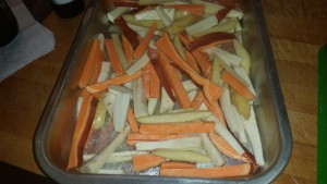 Roasted sweet potato, Yukon gold potato and parsnip fries