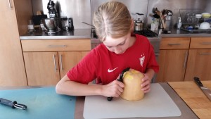 The hardest part of making butternut squash soup? Peeling the squash!!