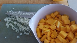 Chopped butternut squash  and onions...