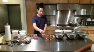 Chef Taka setting up the ingredients for our class.