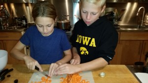 Group chopping of carrots