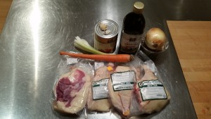 Ingredients for duck ragu (including dried porcini mushrooms)