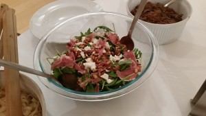 The arugula, goat cheese, proscuitto, pine nut salad