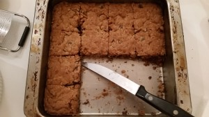 Chocolate Chip Cookie Bars...putting them on the counter before dinner was a mistake (somebody snacked on them).