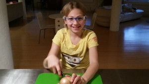Chopping onions for lamb braise (goggles required)