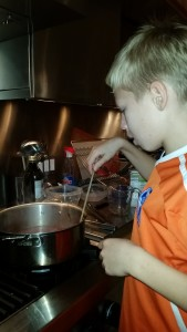 Cooking down the onions, carrots, celery, etc. for the braising liquid