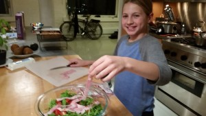 Finishing touches on the salad