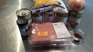 All of the ingredients for the chili