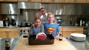 Roast beef ready to roast (with a photo bomb from dad)