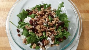 Arugula-goat cheese-cranberry --walnut salad