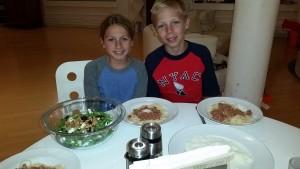 The final meal: arugula salad and lamb ragu.  (Dessert was banana tarte tatin)