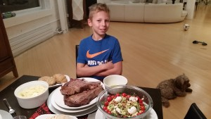 The full dinner: steak, potatoes and salad (and Koko hoping for a handout)