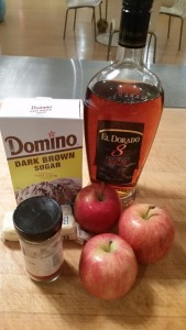 Apples Koster ingredients: apples, butter, brown sugar, cinnamon & rum