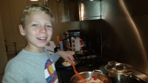 Max cooking chicken.