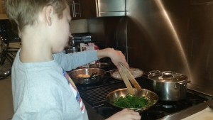 Sauteing the broccolini