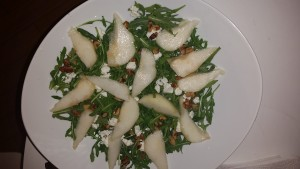 Pear, walnut, goat cheese salad