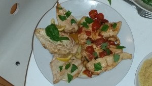 Chicken Two Ways: Grilled with lemon, olive oil & garlic (Alex) or sauteed with olive oil, garlic, basil & tomatoes (Max)