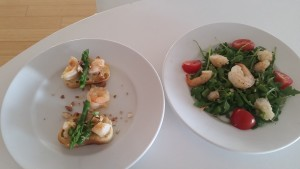 Shrimp & Asparagus appetizers (2 ways): Bruschetta or Arugula salad