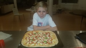 Max's take on a margerita pizza (tomato sauce with fresh mozarella and basil)