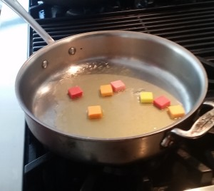 Melting the starburst candy in orange juice and Cointreau
