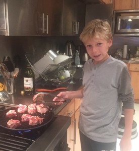 Grilling lamb chops -- we finished them in the oven