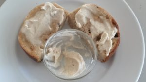 Cinnamon Raisin Bagel spread with Cinnamon-Sugar-Butter